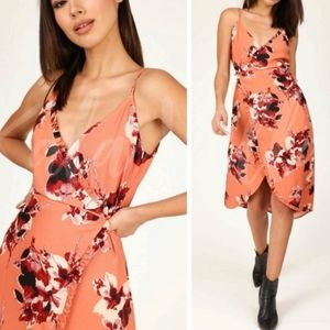 Honey Punch Floral Midi Wrap Dress